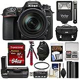 Nikon D7500 Wi-Fi 4K Digital SLR Camera & 16-80mm VR DX Lens with 64GB Card + Battery + Grip + Case + Flash + Tripod + Strap + Filter Kit