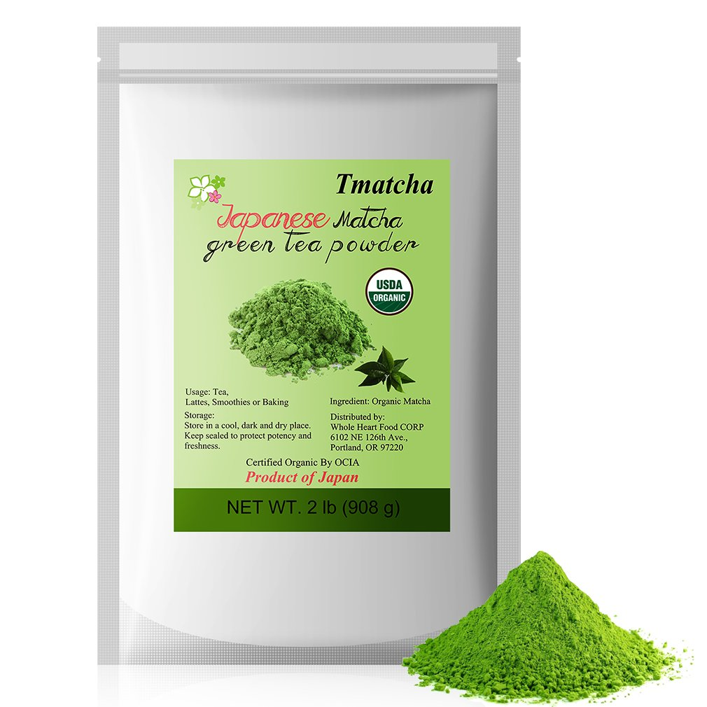 Tmatcha Japanese Matcha Green Tea Powder 2lb - USDA Organic - Culinary Grade Matcha Powder