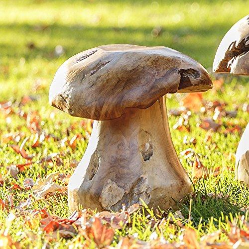 Indoor/Outdoor Teak Wood Stump Mushroom Stools (Medium)