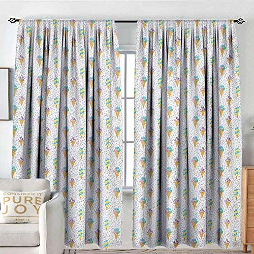 Petpany Blackout Valances for Girls Bedroom Ice Cream,Summer Ice Dessert Collection with Waffle Cones and Sundae Dairy Refreshment,Multicolor,Rod Pocket Curtains for Big Windows 84