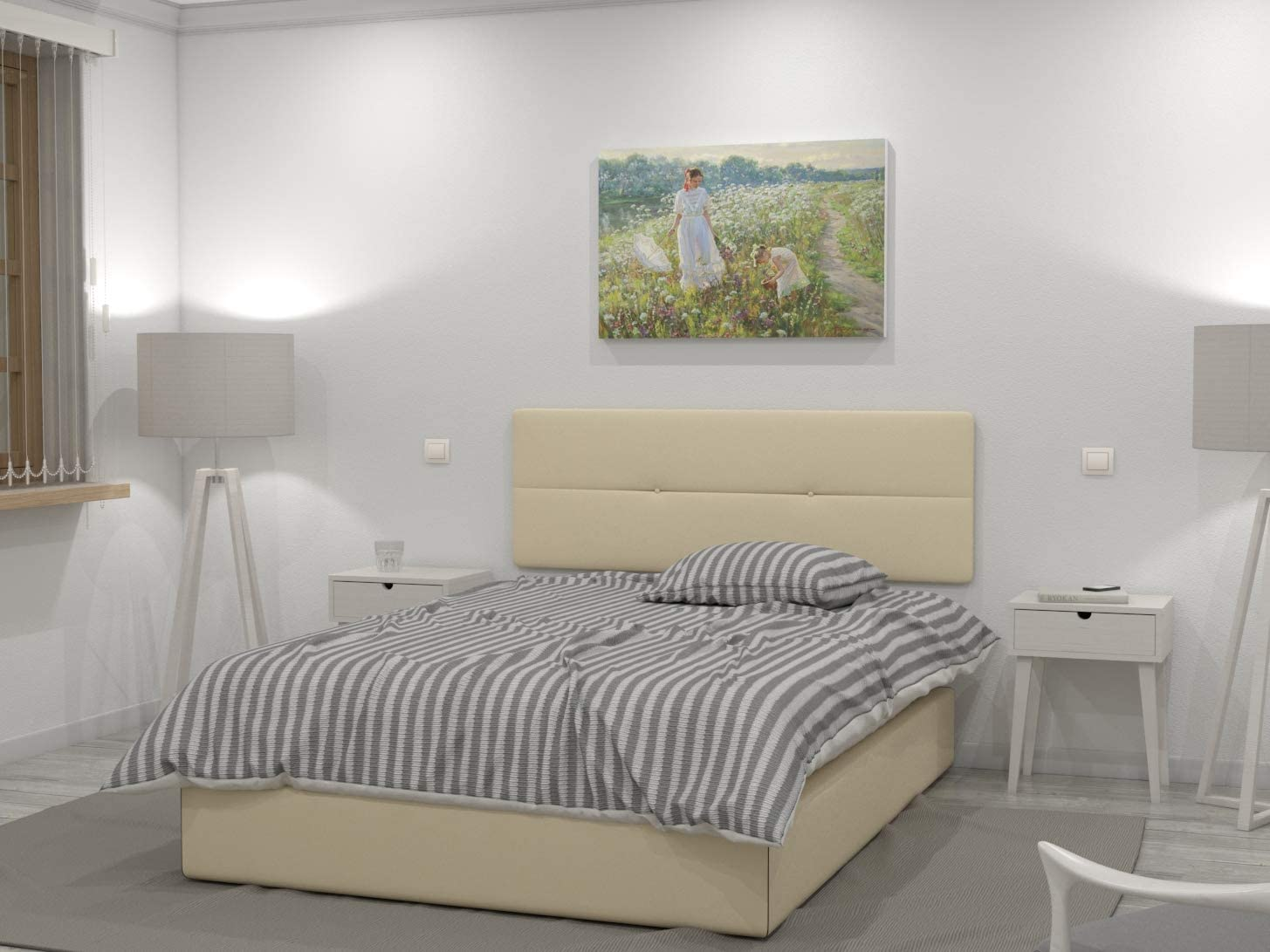 LA WEB DEL COLCHON - Cabecero tapizado Julie para Cama de 135 (145 x 55 cms) Beige: Amazon.es: Hogar