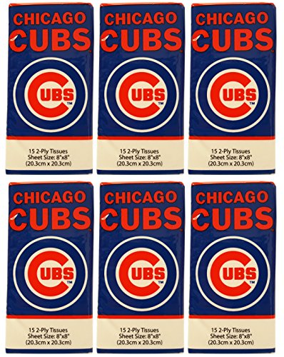 Set of 6 Packs Chicago Cubs 2-Ply Tissues - 8