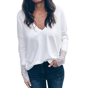 Moonuy Chemise Casual Dentelle Top Femme Chemisier à Manches Longues  Pleines Simple boutonnage T-Shirt af413e0e5669