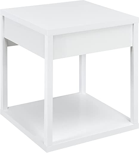 Ameriwood Home Parsons End Table Drawer, White