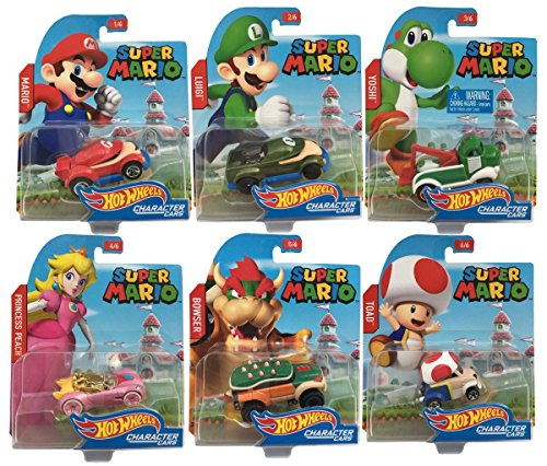 Price comparison product image 2016 Hot Wheels Set of 6 Super Mario 1 / 64 Character Cars Collectible Die Cast Toy Car Models