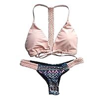 Jimmackey Donna Sexy Mare Bikini Imbottito Push-Up Reggiseno Stampa Tessere Costume Da Bagno