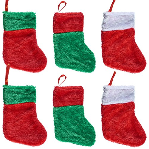 "- Prextex 7"" Deluxe Decorative Plush Christmas Stockings- Set of 6for Great Christmas Decoration"