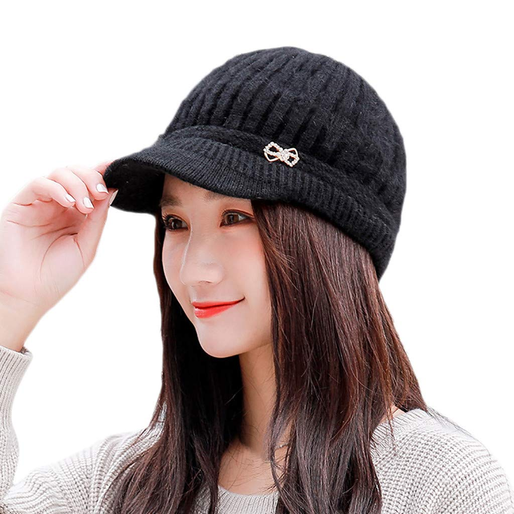 Amazon.com  EnjoCho 2018 Elegant Women Knitted Hats Beanie Cap Autumn Winter  Berets Ladies Female Fashion Skullies Beret Hat (Black-3)  Office Products 2e27267459c0