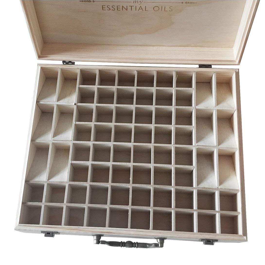 Swiftswan 68 cassette di grandi dimensioni in legno di oli essenziali scatola in legno massello titolare di bottiglie di aromaterapia organizzatore di stoccaggio