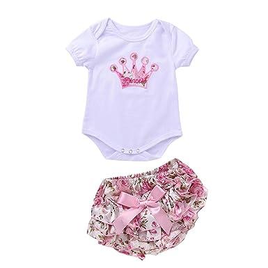 00d9e26c70351 杜屋トヤ 新生児服 女の子赤ちゃんショートスリーブ花柄ロンパース ショーツパンツセット ベビー