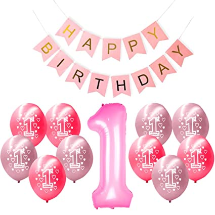 Happy Birthday Balloon Banner 1 Year Party Decoration Arrangement With Numbers For Girls Boys