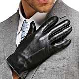 Mens Touchscreen Texting Genuine Nappa Leather Gloves Winter Driving Warm Lined Gloves, Black, US XL-9.4''