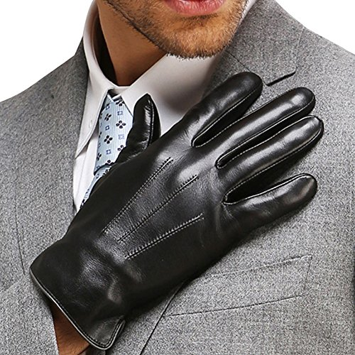 0703e5a81df28 Mens Touchscreen Texting Genuine Nappa Leather Gloves Winter Driving Warm  Lined Gloves, Black, US
