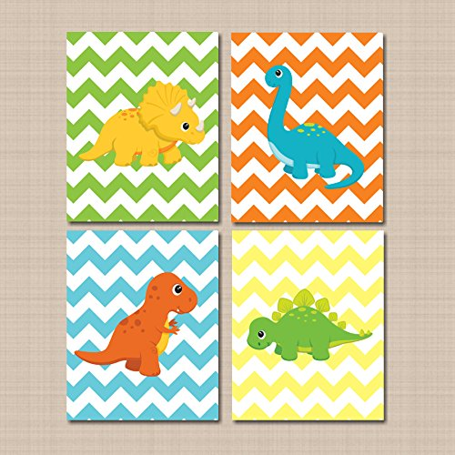 Dinosaur Nursery Wall Art,Blue Green Orange Chevron Dinosaur Wall Art, Dinosaur Kids Wall Art,Dinosaur Wall Art,Dinosaur Nursery Decor-UNFRAMED PRINTS (NOT CANVAS) C133