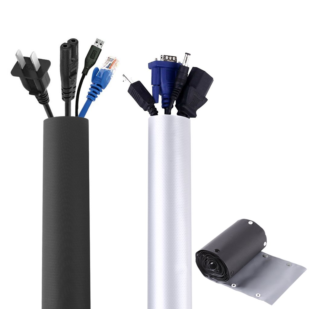 157 Inch PVC Cable Sleeves,Kicpot ECO-friendlly DIY Management Sleeving Fireproof/Waterproof Reversible 2 Sides Cord Cover Flame Retardant Cable Organizer Wrap Cover Reusable Wires Hider