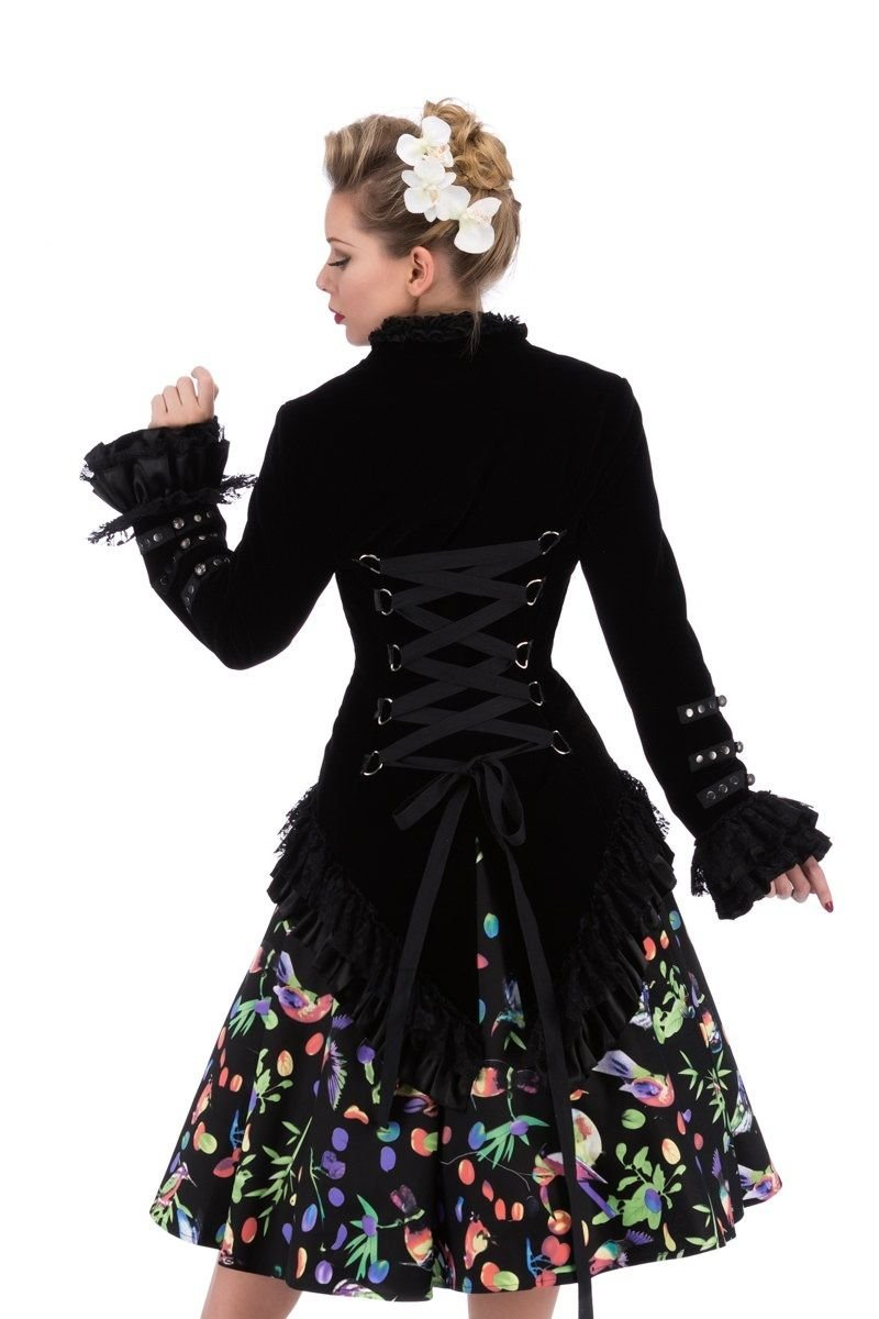 Hearts & Roses Womens Velvet Victorian Steampunk Tailcoat Corset Back - Black (US 14)