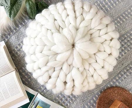 Amazon.com: De punto Puff reposapiés de tejer decoración del ...