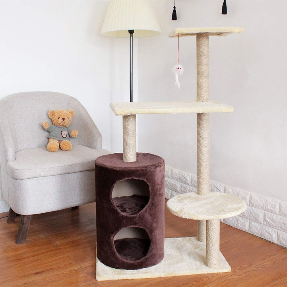 Coffee color Jia He Cat Tree Four Seasons Cat Tree Double Cat House Fun Cat Tree Cat Jumping Cat Cat Board 5 colors Available @@ (color   Coffee color)
