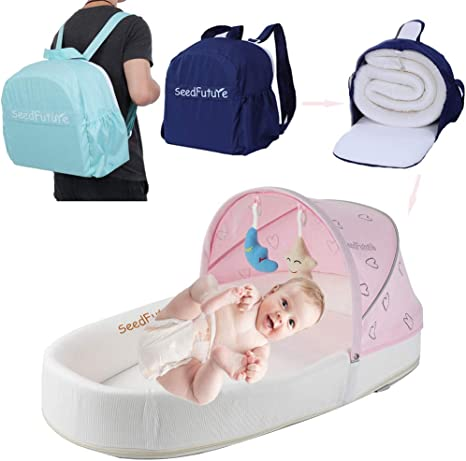 Baby Infant Bassinet Crib Co Sleeping Cots Travel Beds Bedside Sleeper Mattress Lounger Cradle Newborn Portable Gift Blue BD