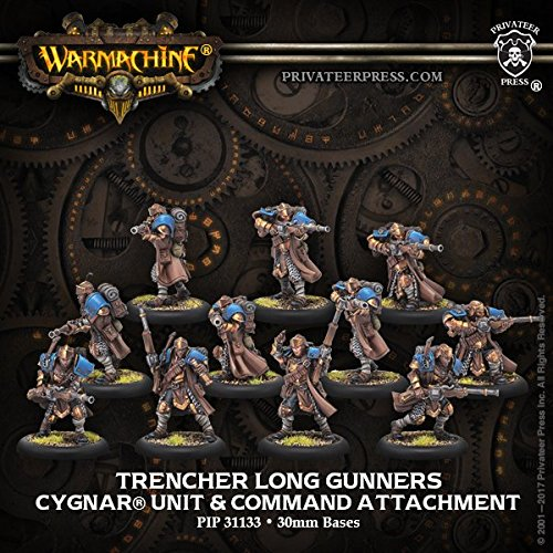 (Privateer Press Trencher Long Gunners: Cygnar Unit & Command Attachment (Resin/Metal) Miniature Game PIP31133)