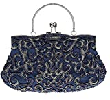 Bywen Womens Vintage Beaded Purse Party Clutch Shoulder Bags Dark Blue