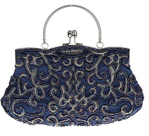 Bywen Womens Vintage Beaded Purse Party Clutch Shoulder Bags Dark Blue by Bywen