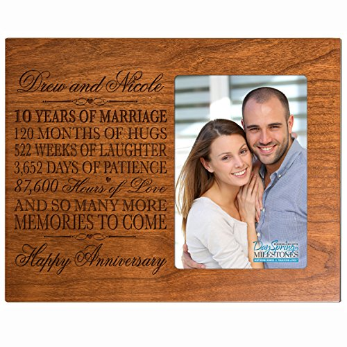 Personalized ten year anniversary gift her him couple Custom Engraved 10th year wedding celebration for husband wife girlfriend boyfriend frame holds 4x6 photo by DaySpring International (Cherry)