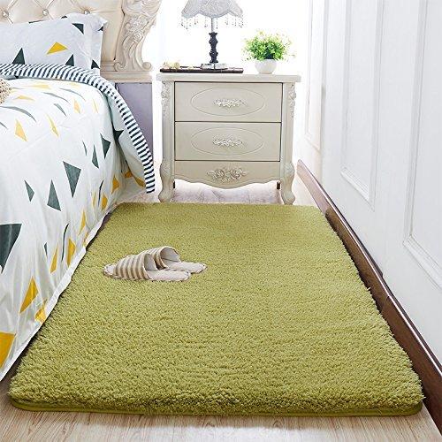 Super Soft Tea Green Area Rug Kids Rugs Artic Velvet Mat with Plush and Fluff for Bedroom Floor Bathroom Pets Home Hotel Mat Rug (3' x 5', Tea Green)