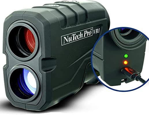 NuTech Pro Rechargeable Golf Rangefinder with Slope USB Charging 659 Yards. 6X Laser Range Finder. Flagpole Lock, Vibrate, Continuous Scan Slope Rangefinder for Golf. Bright LED. Super Accurate