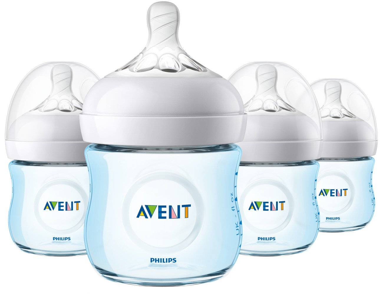 Philips Avent Natural Baby Bottle, Blue, 4oz, 4pk, SCF010/49 by Philips AVENT