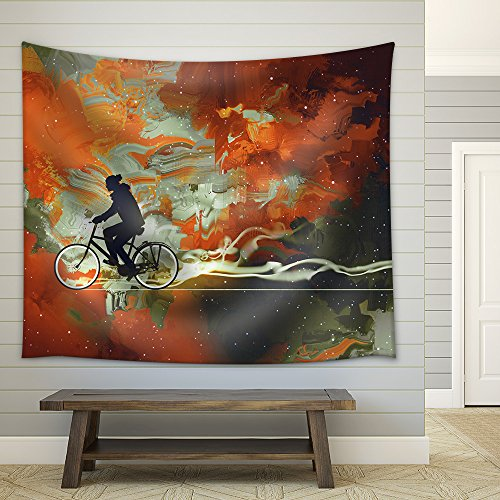 Silhouettes of Man on Bicycle in Universe Filled Illustration Art Fabric Wall