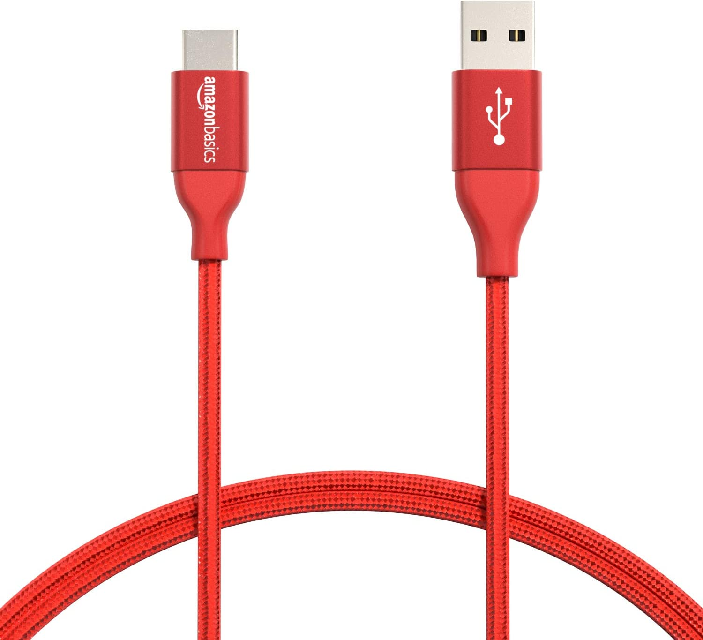 AmazonBasics - Cable macho de USB 2.0 C a USB 2.0 A, de nailon con trenzado doble   0,9 m, Rojo