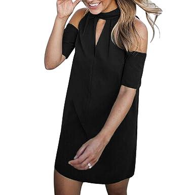 b5325527cdf98f Elogoog Womens Sexy Cold Shoulder Halter V Neck Choker Party Cocktail Short  Sleeve Mini Dress (Black