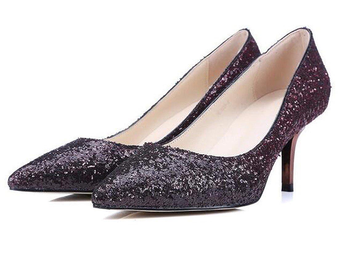 QIYUN.Z Frauen Frauen Frauen Zeigte Zehe Steigung Farbe Pailletten High Heel Spikes Stilettos Schuhe dab162