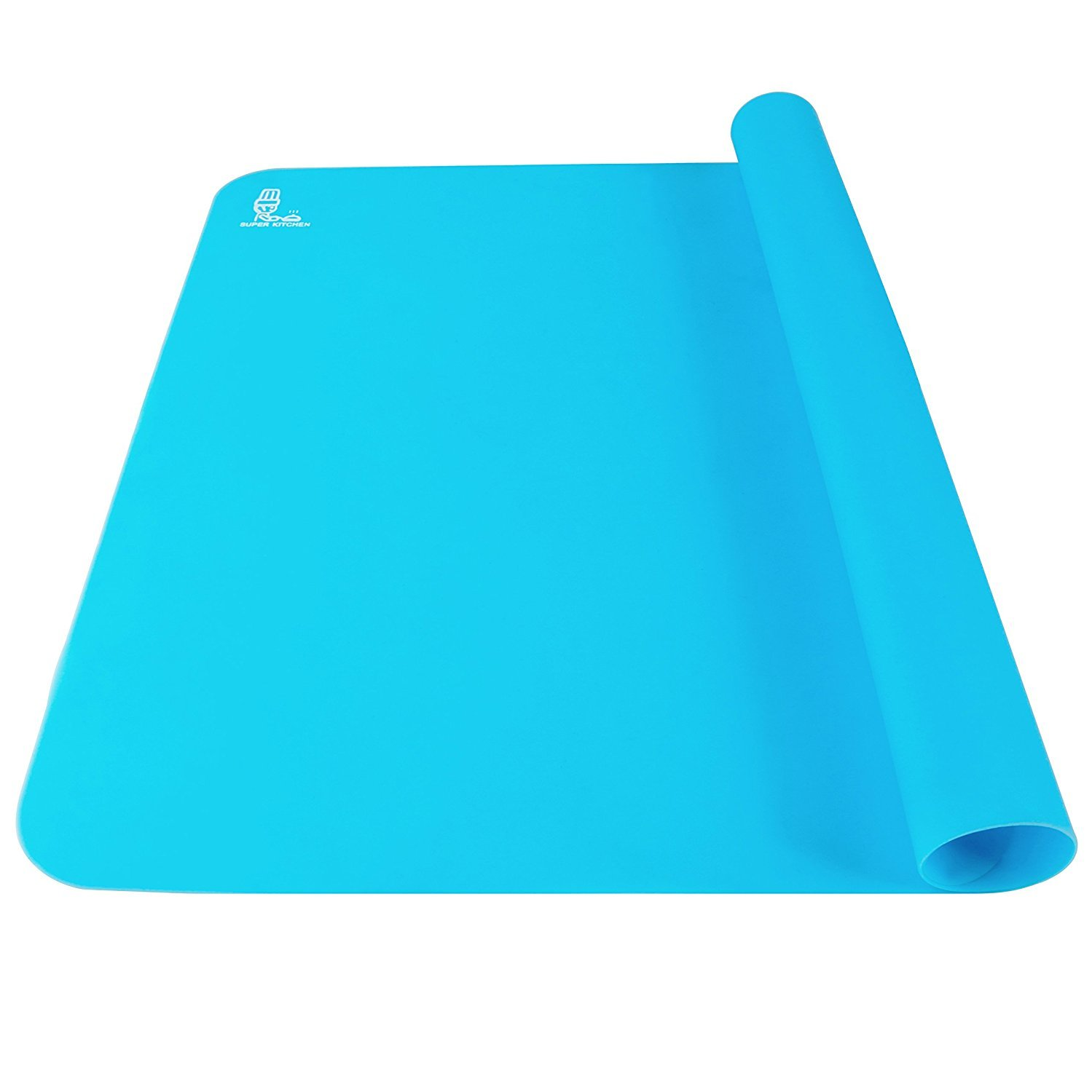 Super Kitchen Food Grade Non-stick Silicone Pastry Mat - For Heat Resistant Nonskid Table Mat,Baking Mat, Countertop Protector, Pie and Fondant Mat 23.6''15.75'' (Blue)