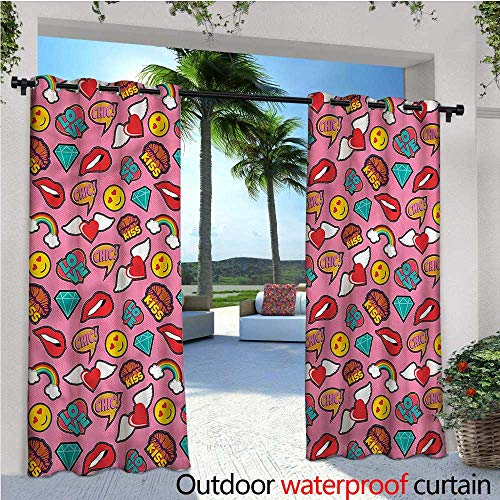 warmfamily Emoji Exterior/Outside Curtains Dotted Hearts Rainbow for Patio Light Block Heat Out Water Proof Drape W72 x L84 -