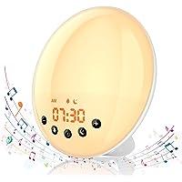 Hosome Réveil Lumière Coucher de Soleil, Radio Lampe de Reveil, Lampe de Chevet 8 Sons Naturels et 7 Couleurs à Côté de la Lampe