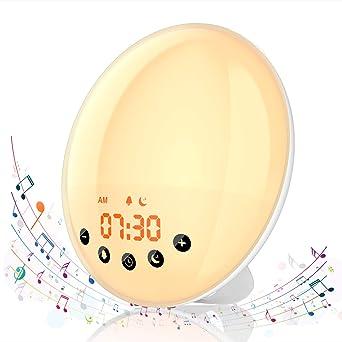 Inkl. 1 Aufnahme Sonnenaufgang Sonnenuntergang Simulation Wecker mit Snooze Funktion FM-Radio KINGSO Lichtwecker Wake Up Licht 9 Weckt/öne 30 Helligkeitsstufe f/ür Erwachsene /& Kinder