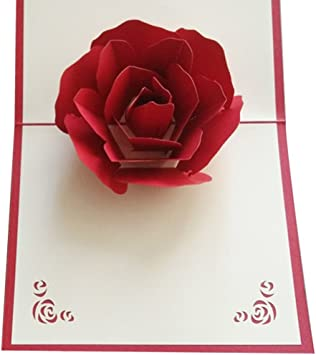 3D Pop Up Greeting Cards Peony Birthday Valentine Mother Day Christmas good qual