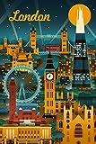London, England - Retro Skyline (9x12 Collectible Art Print, Wall Decor Travel Poster)