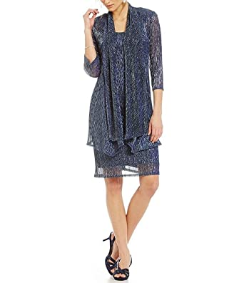 91976590c63c42 R M Richards Sleeveless Cascade Front Metallic Knit Dress and Jacket at  Amazon Women s Clothing store