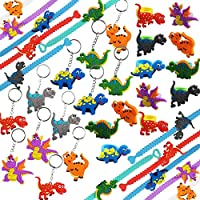 Mini Dinosaur Birthday Party Favor Supplies,Bracelets, Rings and Keychains Bulk Toys for Carnival Prizes for Kids Goodie Bag Fillers - 36Pcs Set - Gtlzlz