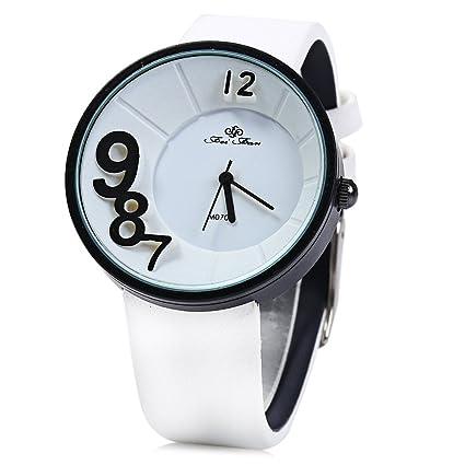 fenkoo Xu TM Mujeres Denim correa tridimensional Digital Reloj de cuarzo Blanco blanco