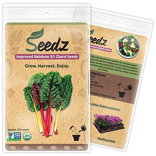 CERTIFIED ORGANIC SEEDS (Apr. 225) - Rainbow Swiss Chard Seeds - Heirloom Quality - Non GMO, Non Hybrid Seeds