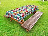 Lunarable Animal Outdoor Tablecloth, Colorful Sheep with Yarn Ball Design Barnyard Fauna Design with Polka Dots Abstract, Decorative Washable Picnic Table Cloth, 58 X 84 Inches, Multicolor