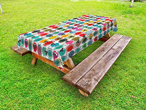 - Lunarable Animal Outdoor Tablecloth, Colorful Sheep with Yarn Ball Design Barnyard Fauna Design with Polka Dots Abstract, Decorative Washable Picnic Table Cloth, 58 X 84 Inches, Multicolor