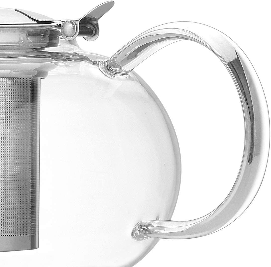 Artcome 1000ml Blooming and Loose Leaf Tea Pots 34oz Glass Teapot with Removable Infuser Stovetop Safe Teapot