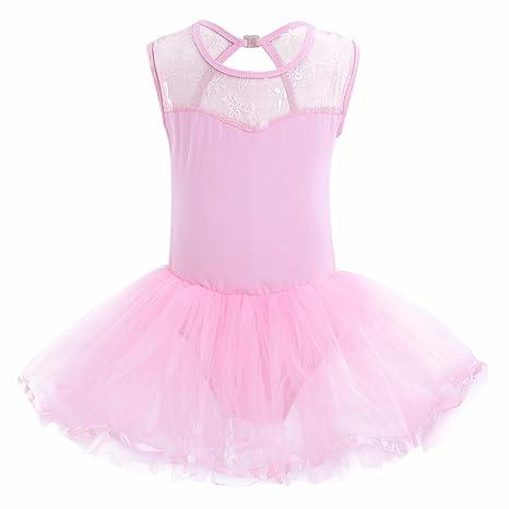 iiniim Enfant Fille Princess Robe Danse Ballet Léotard en Coton sans  Manches Maille Jupe Tutu Justaucorps 53c9729aba2