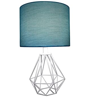 Celeste 18 table lamp diamond wire geometric metal base with teal celeste 18quot table lamp diamond wire geometric metal base with teal fabric drum shade greentooth