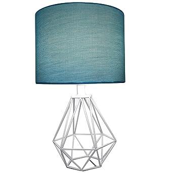 Celeste 18 table lamp diamond wire geometric metal base with teal celeste 18quot table lamp diamond wire geometric metal base with teal fabric drum shade greentooth Images